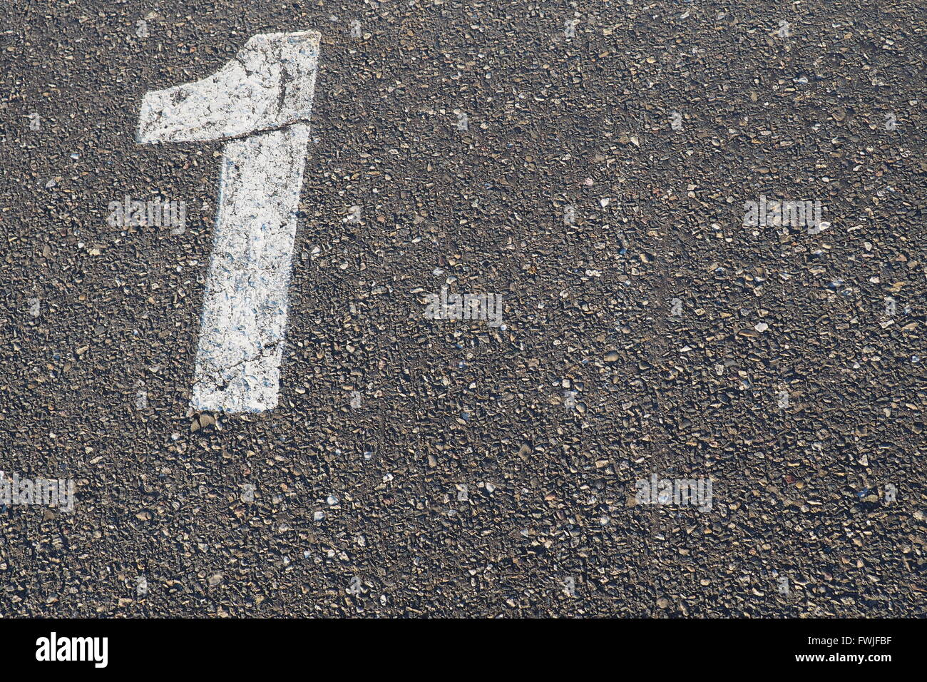 High Angle View Of Number 1 On Road - Stock Image