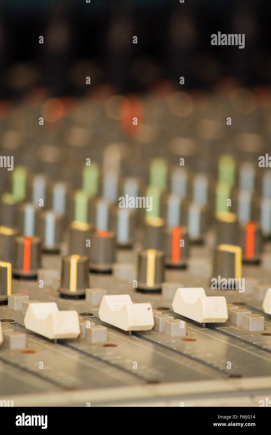 Close-Up Of Sound Recording Equipment Stock Photo