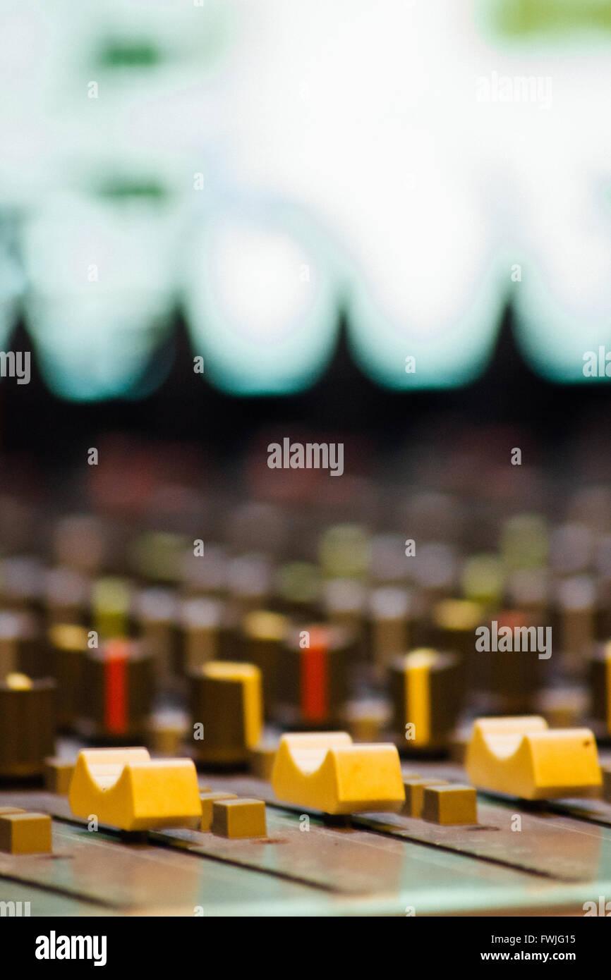 Close-Up Of Sound Recording Equipment Stock Photo