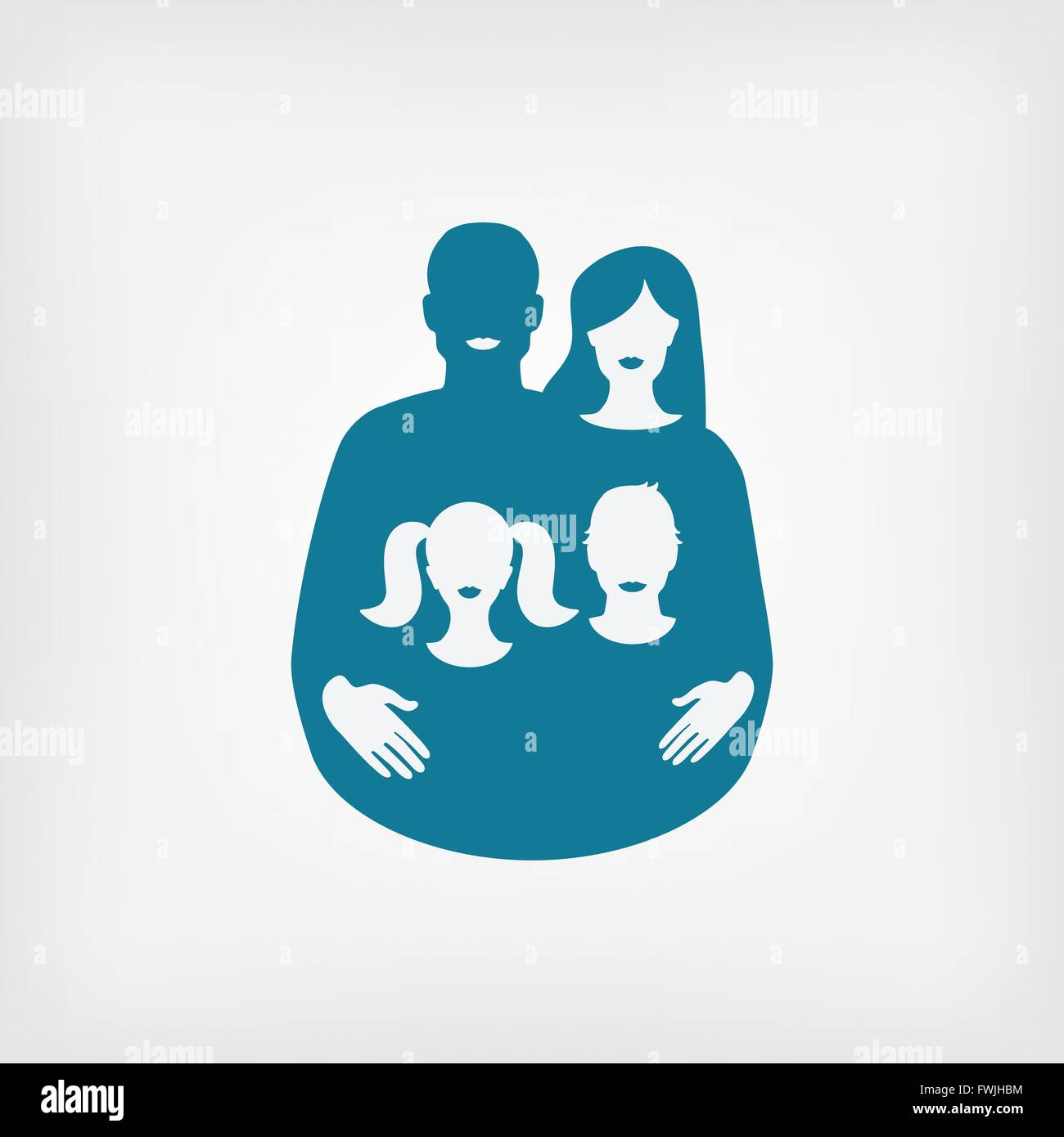 young family concept. father and mother with children. vector illustration - eps 8 - Stock Vector