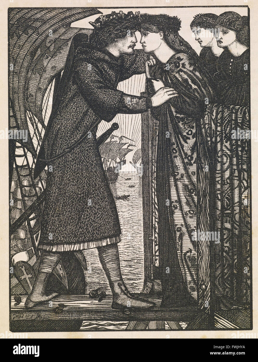Edward Burne-Jones - King Sigurd the Crusader - A Norse Saga - Birmingham Museum and Art Gallery - Stock Image