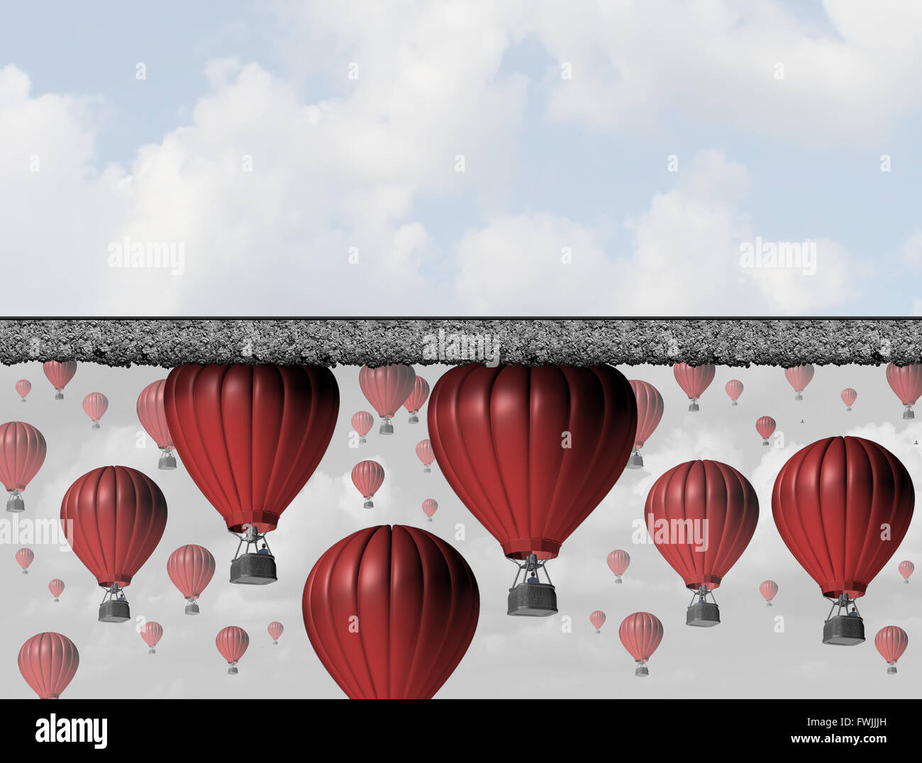 Hitting a wall and reach the limit or ceiling as a business concept for restricted opportunity and closed economic - Stock Image