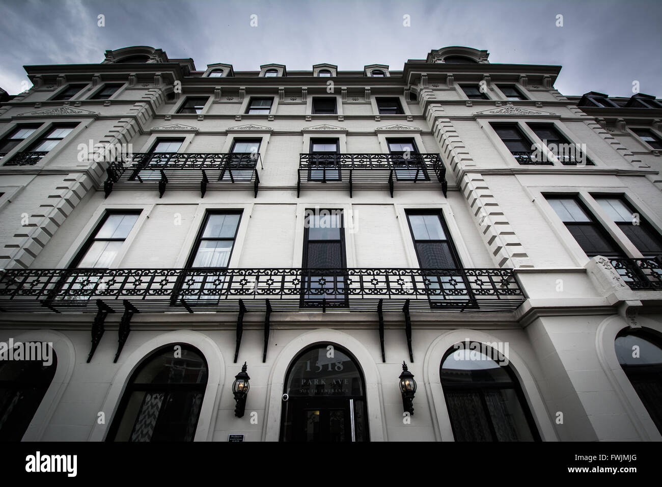 Apartment building in Bolton Hill, Baltimore, Maryland. - Stock Image