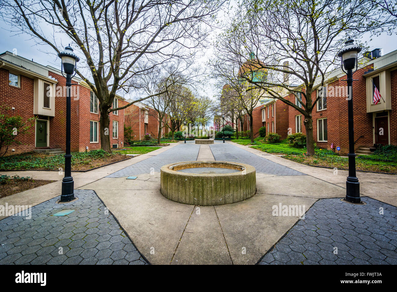 Park in Bolton Hill, Baltimore, Maryland. - Stock Image