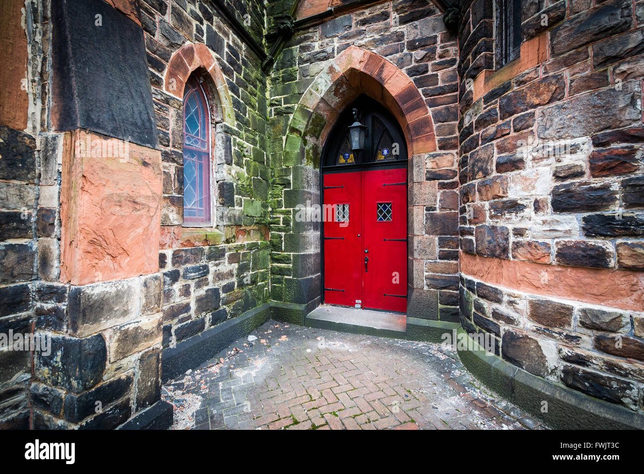 Red door on an old stone church in Bolton Hill Baltimore Maryland. & Red door on an old stone church in Bolton Hill Baltimore Maryland ...