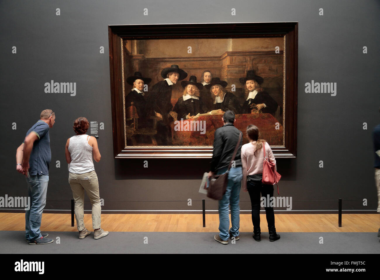 The Sampling Officials ('De Staalmeesters' (1662) or the 'Syndics of the Drapers' by Rembrandt in - Stock Image