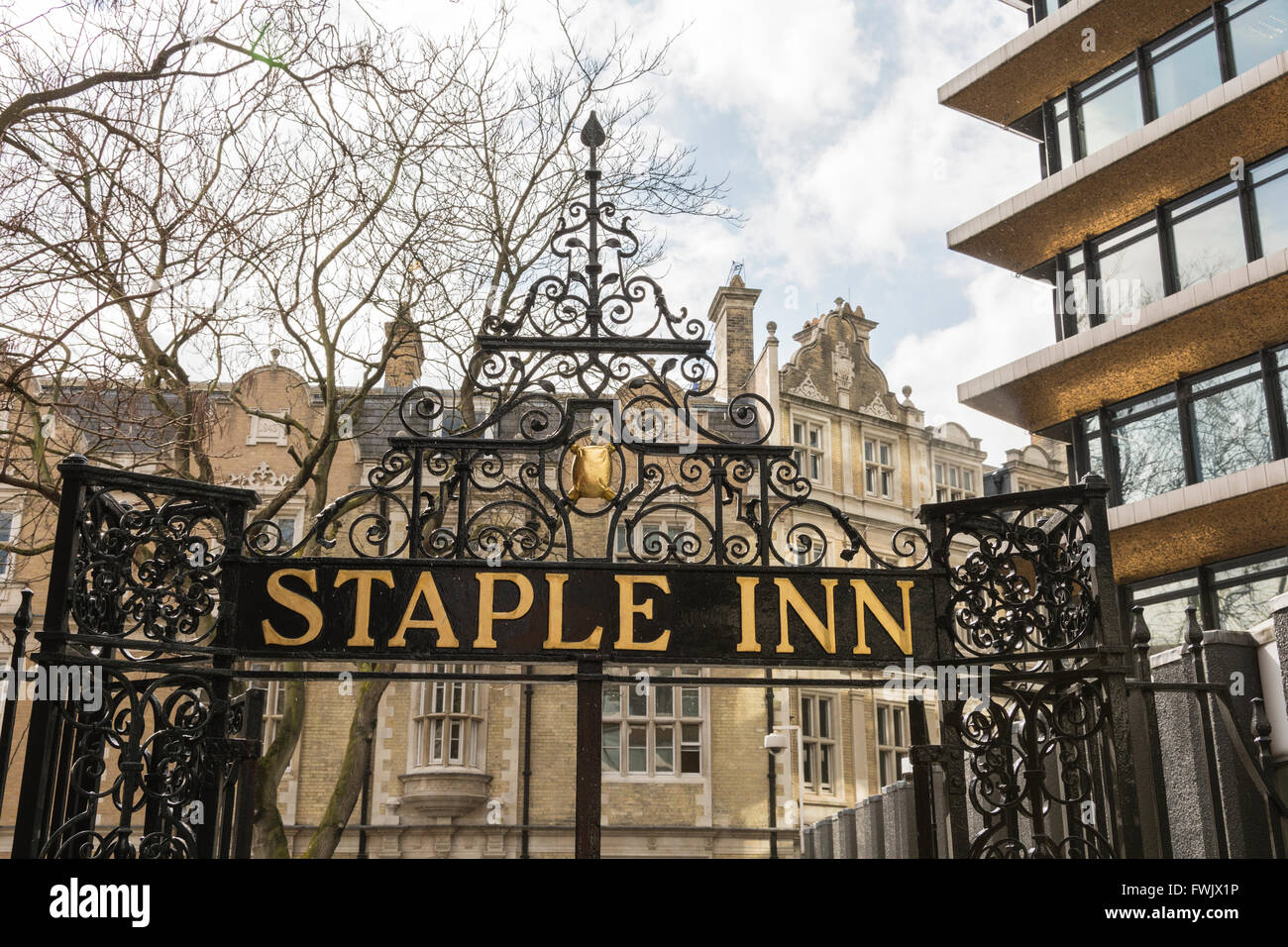 Staple Inn, High Holborn, in the City of London, England, UK - Stock Image