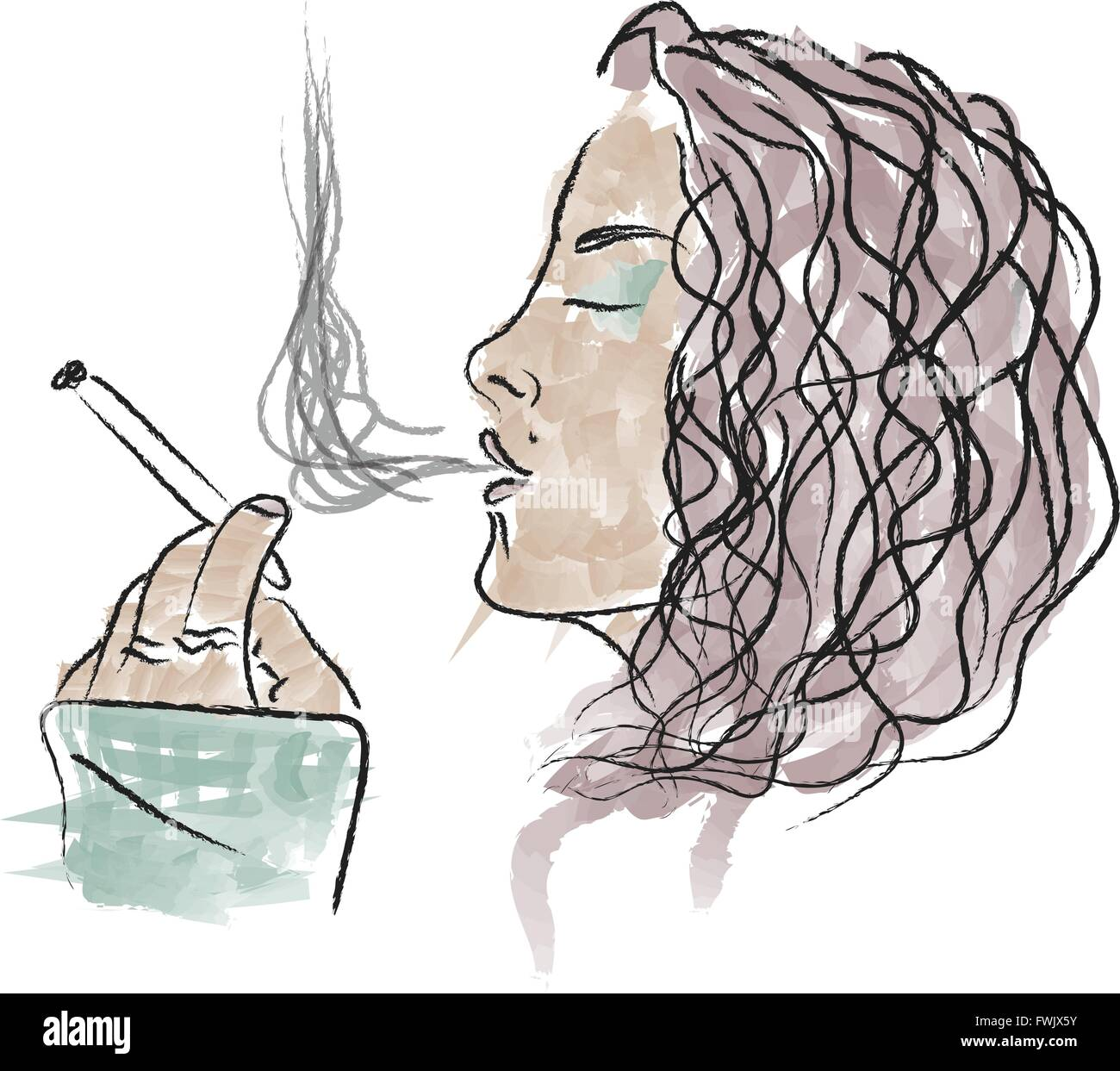 a pretty girl holding a cigarette and blowing the smoke - Stock Vector
