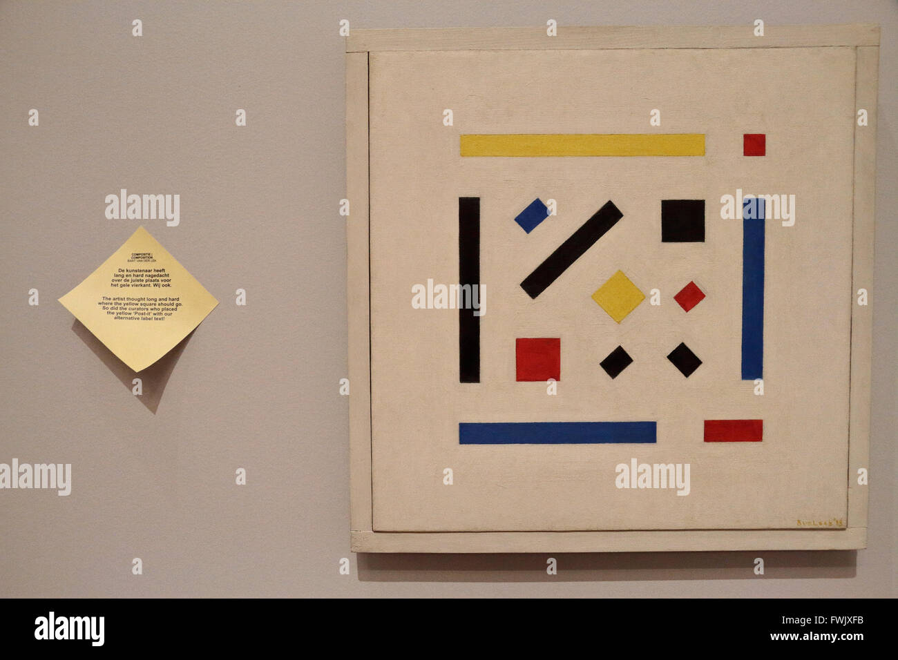 'Composition' by Bart can der Leck (1918) with 'Post-it' in the Rijksmuseum, Amsterdam, Netherlands. - Stock Image