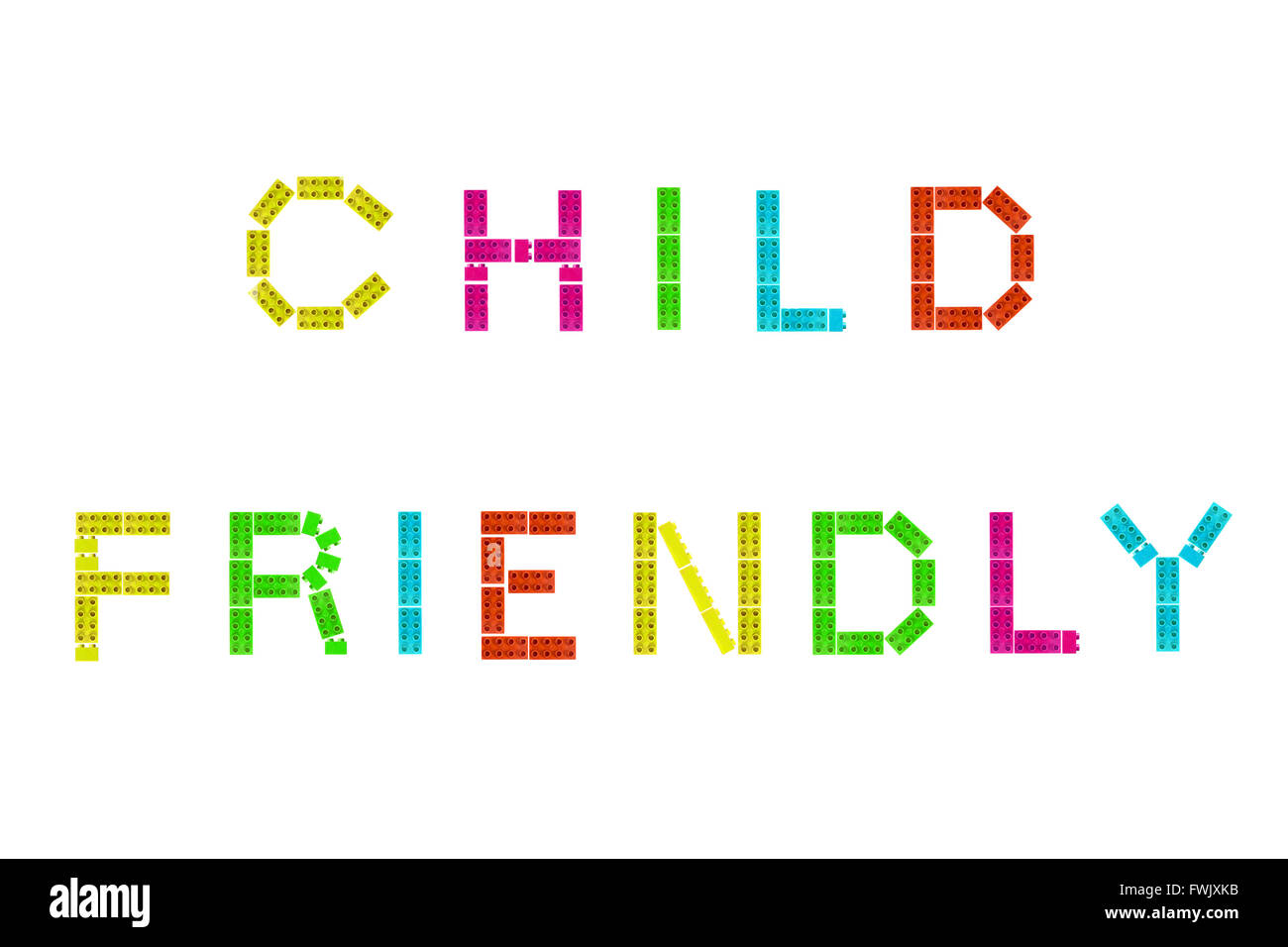 The words Child Friendly created form Lego and photographed against a white background. - Stock Image