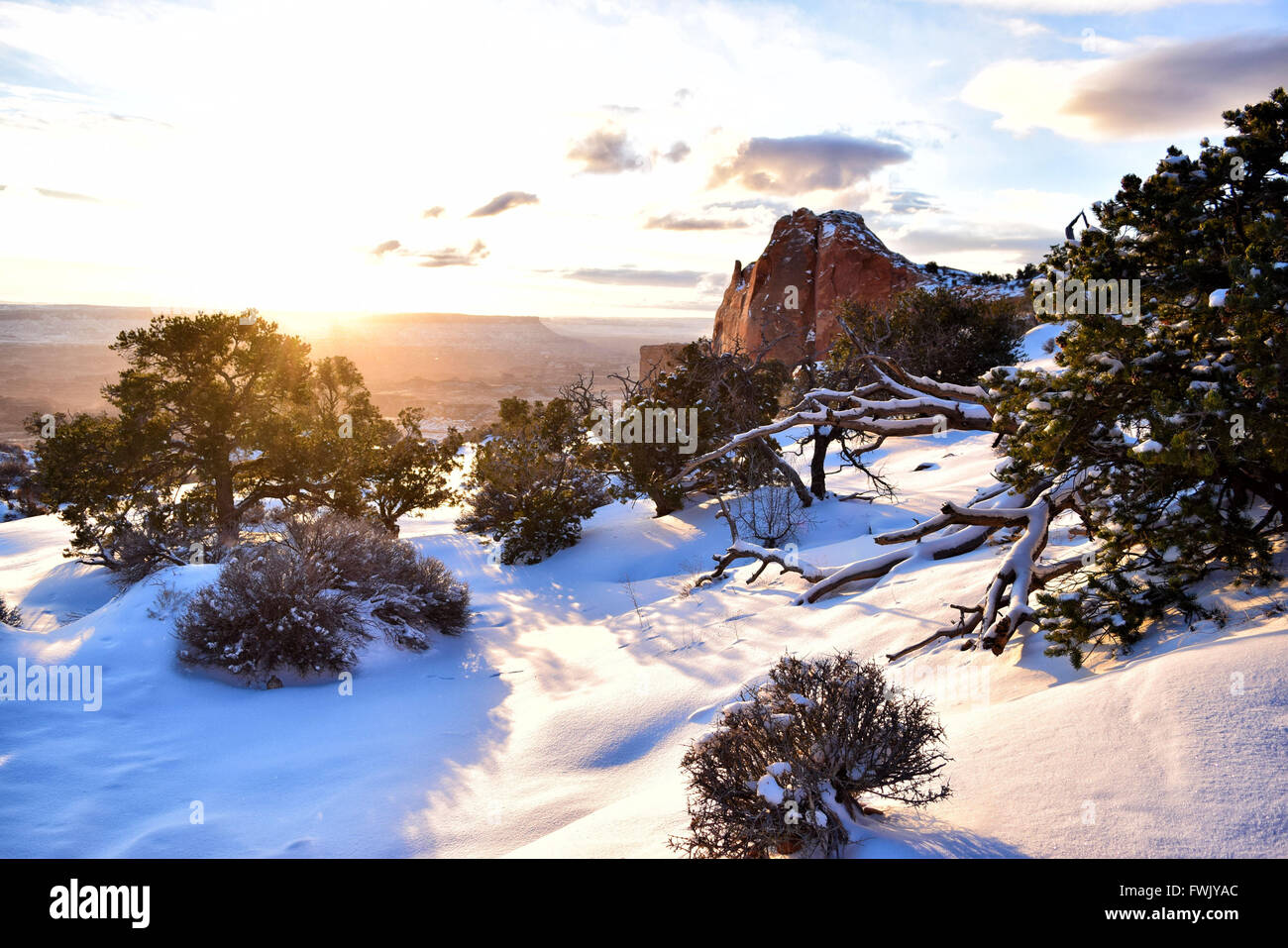 Sunrise in Canyonlands National Park taken next to Mesa Arch - Stock Image