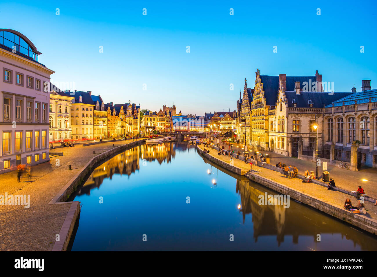 Night at Ghent canal in Belgium. - Stock Image