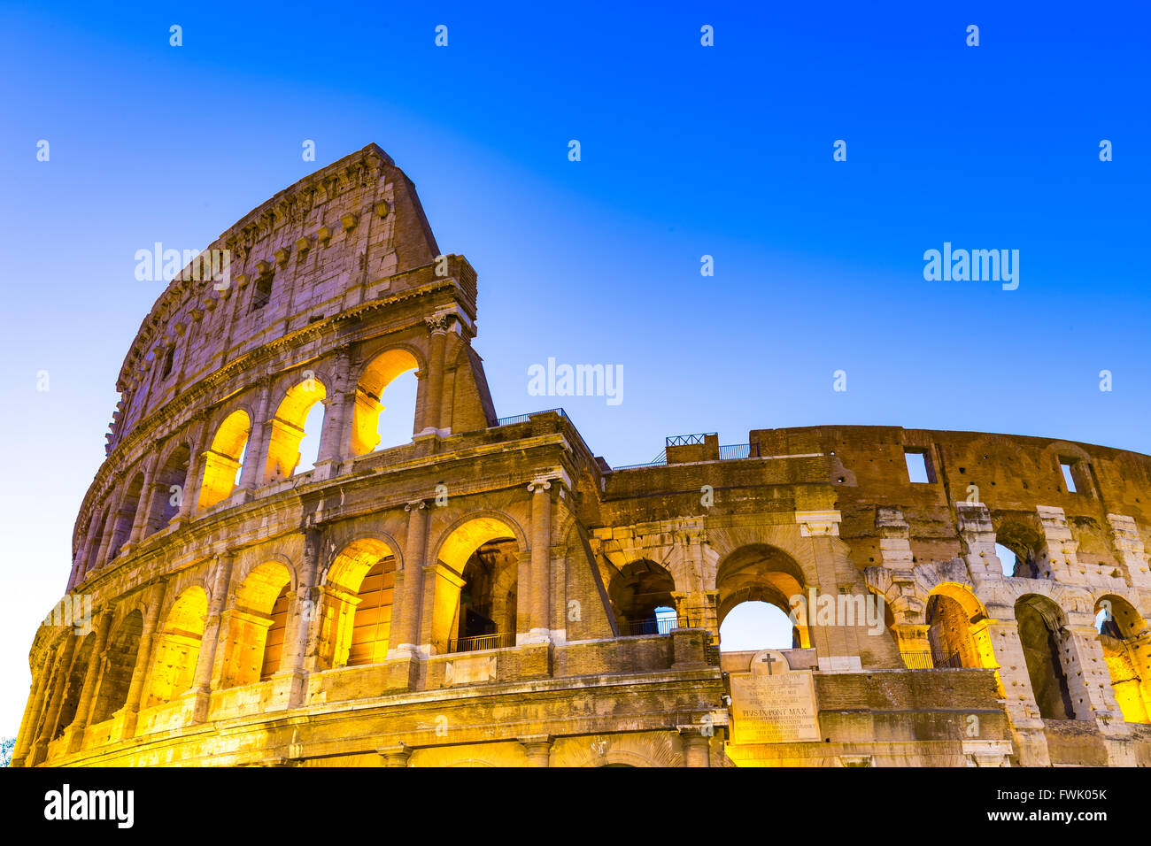 The Close up view of Colosseum in Rome, Italy. - Stock Image