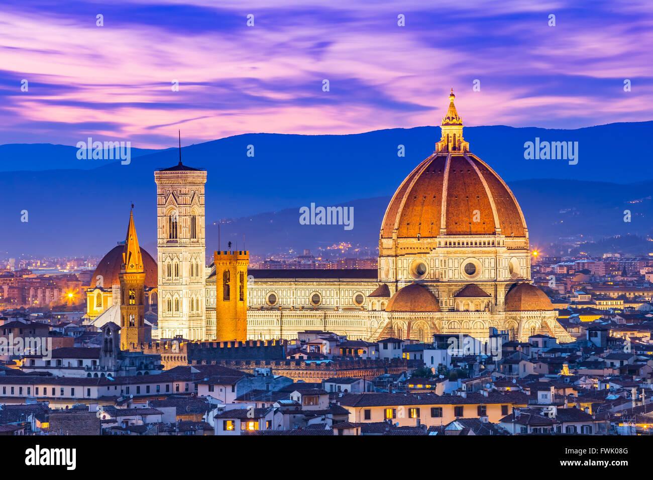 Duomo Florence at night. - Stock Image