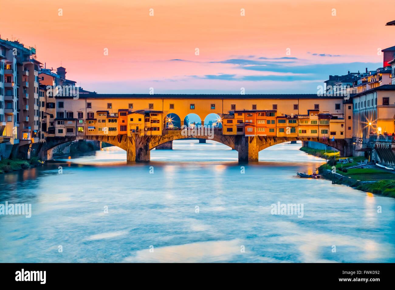 The Ponte Vecchio bridge in Florence, Italy. - Stock Image