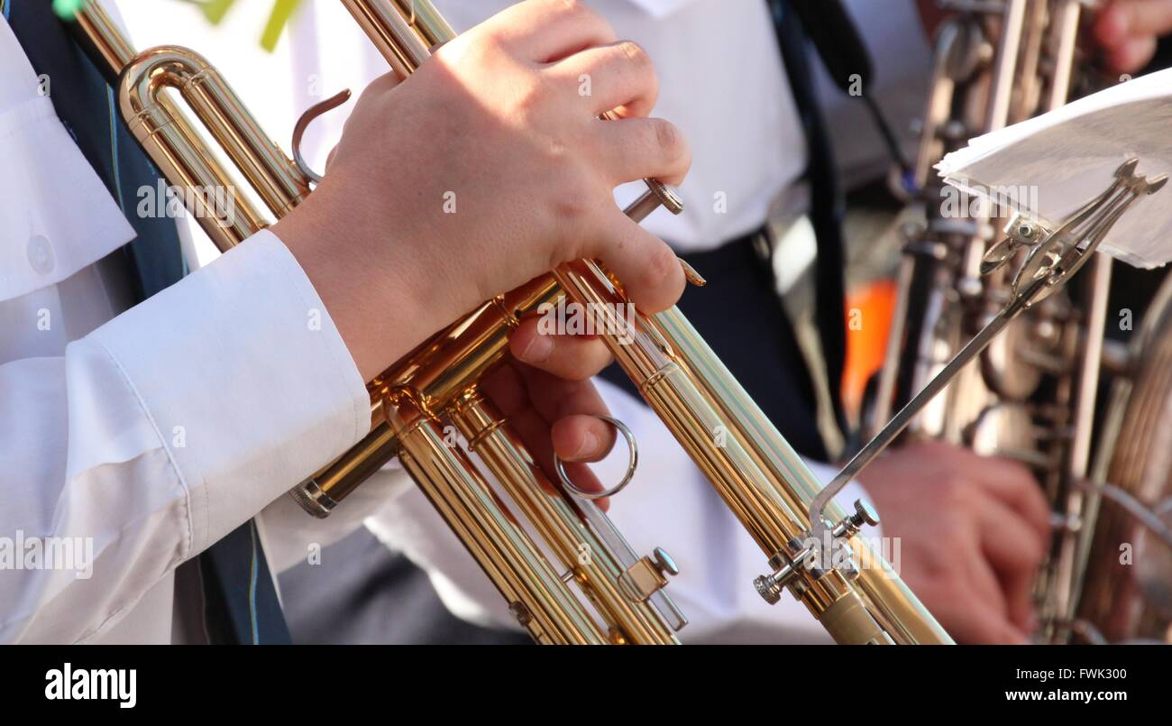 Cropped Image Of Musician Playing Trumpet - Stock Image