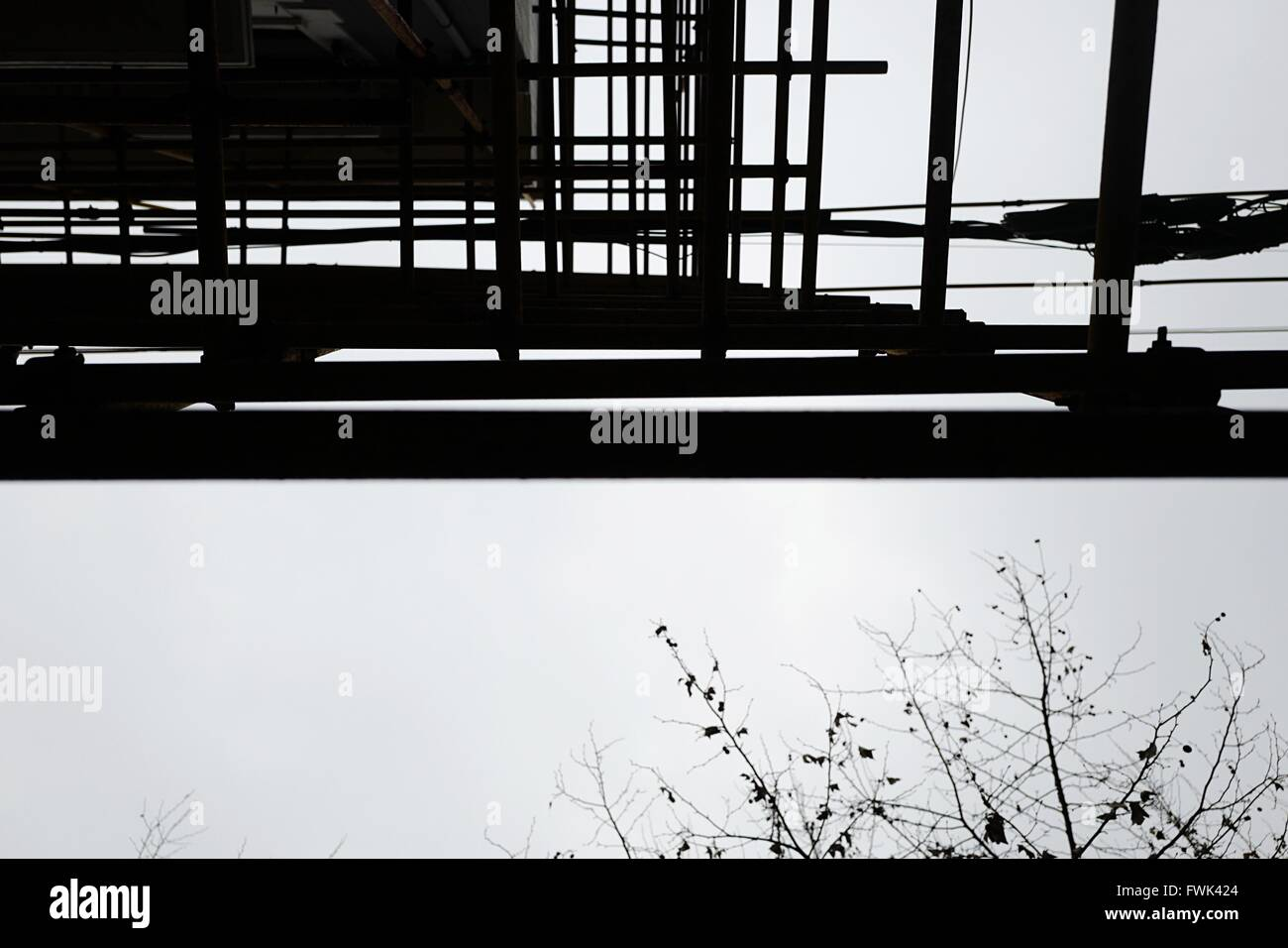 Low Angle View Of Scaffolding Against Sky - Stock Image