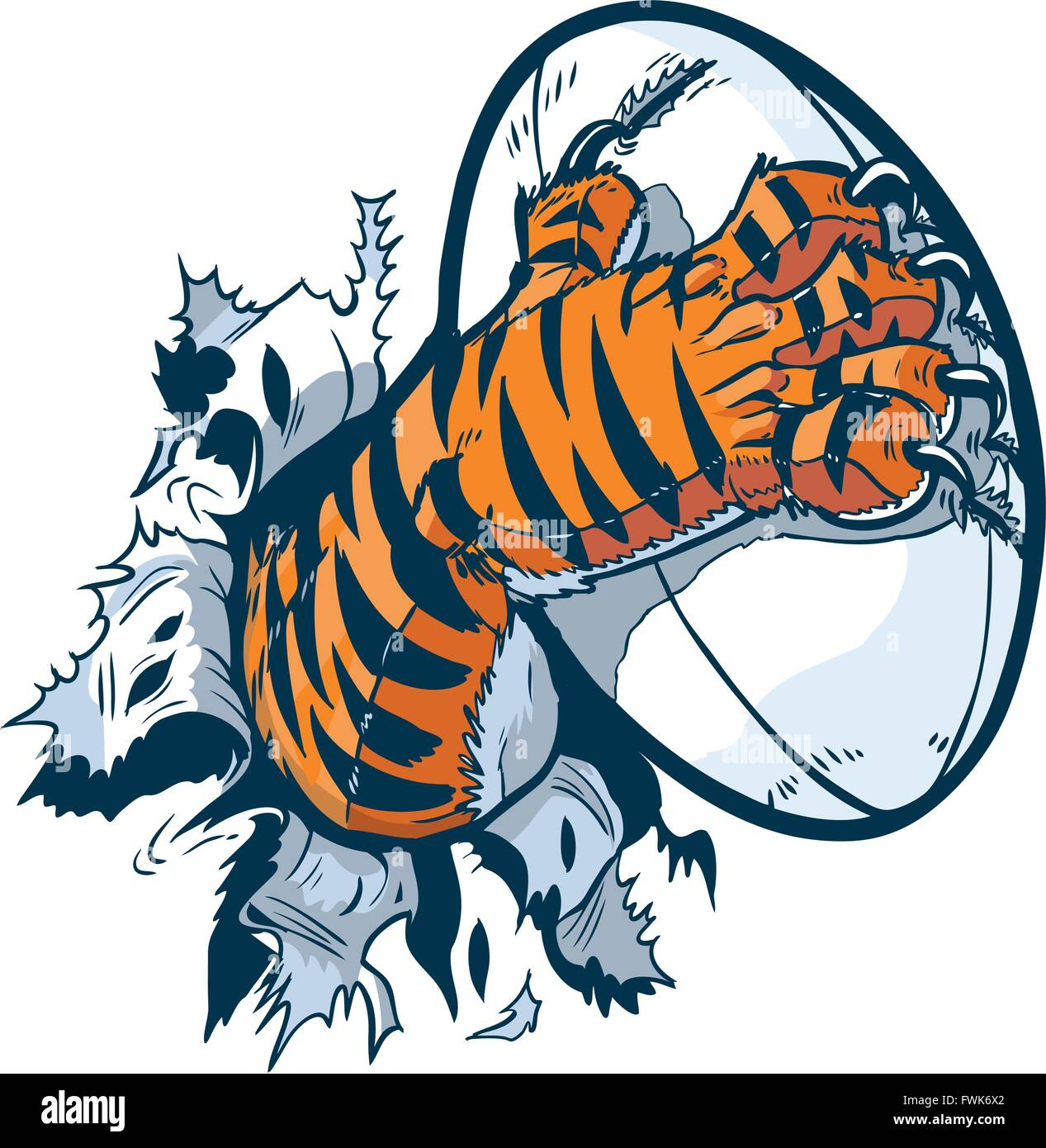 Vector cartoon clip art illustration of a tiger mascot paw ripping out of the background gripping a rugby ball. - Stock Vector