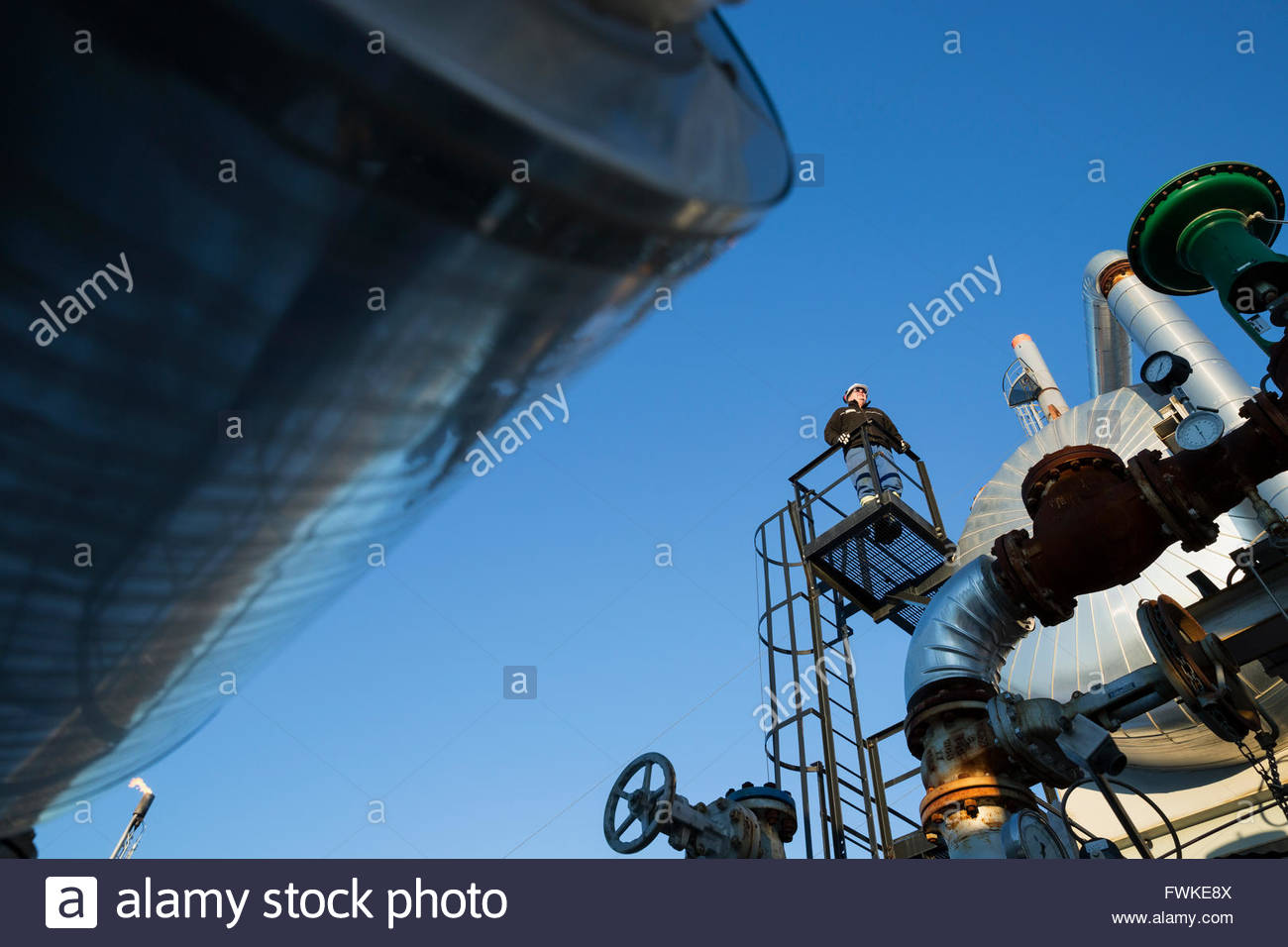Male engineer standing on platform above gas plant - Stock Image
