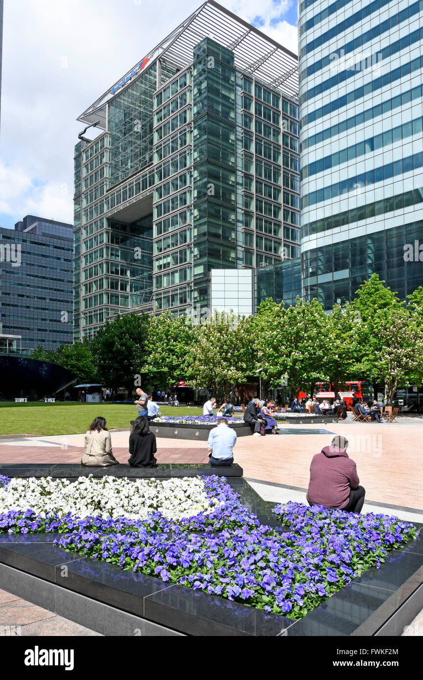 Spring floral display at Canada Square Canary Wharf London Docklands Isle of Dogs Tower Hamlets England UK with - Stock Image