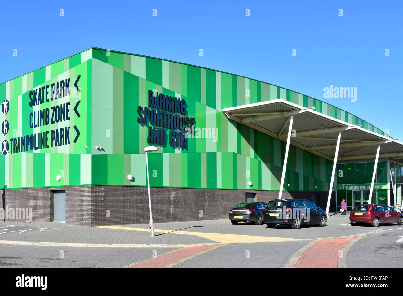 Barking Sporthouse & Gym one of UK largest sports hall & many other facilities in large open space parkland - Stock Image