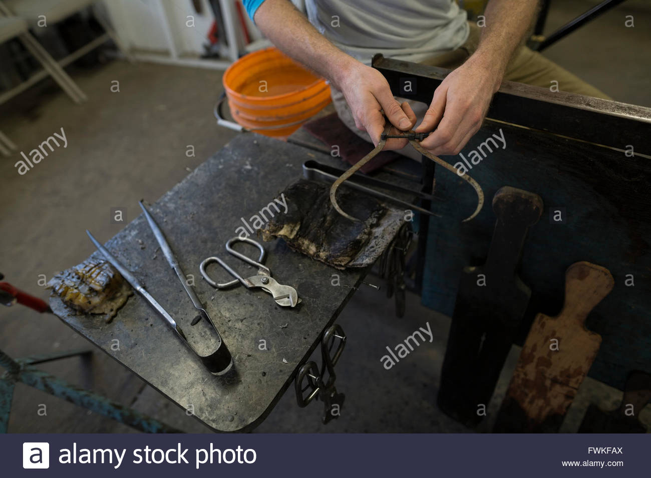 Glass blowing tools - Stock Image