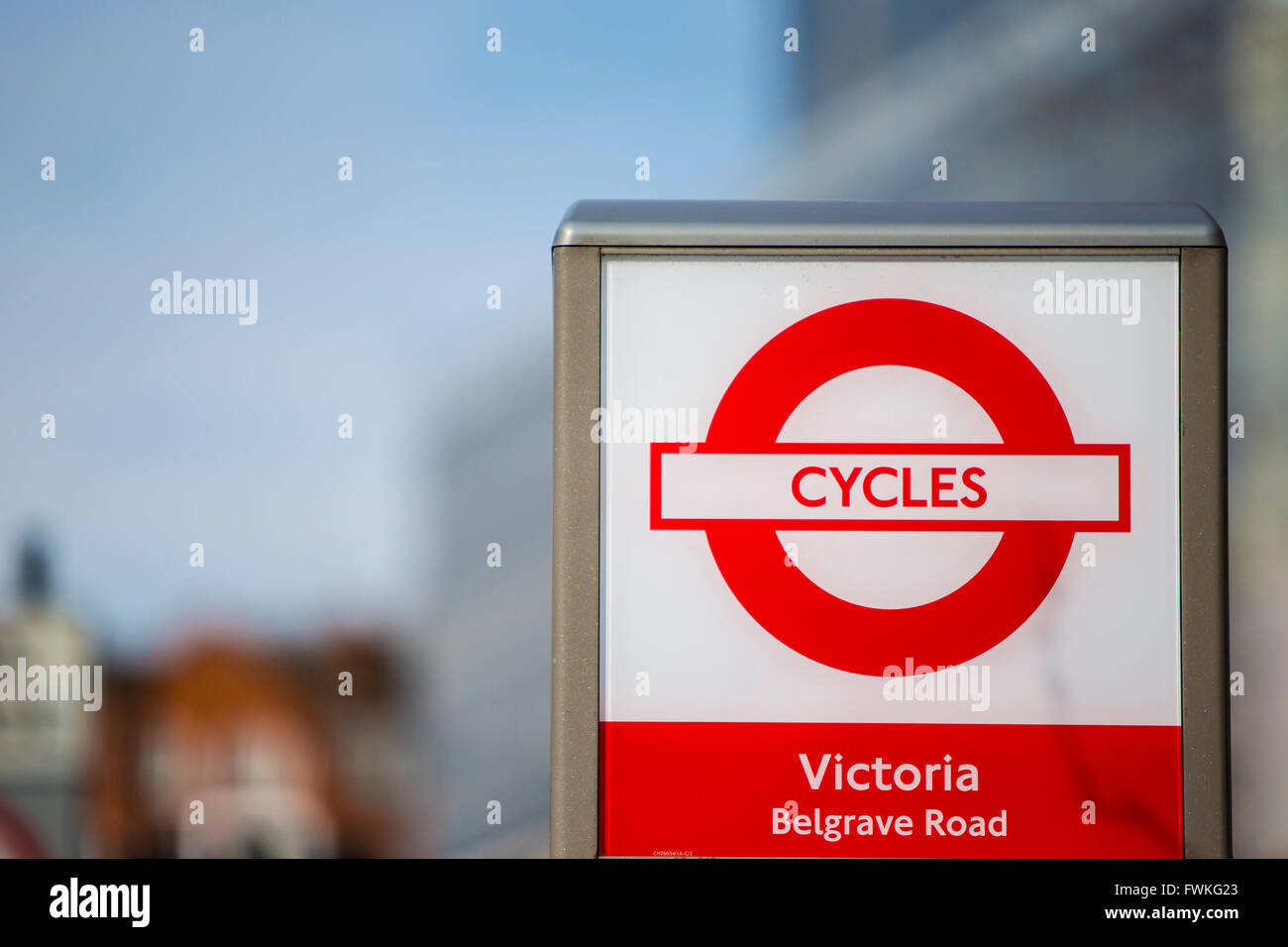 Victoria Belgrave Road Cycles for Hire Transport for London Boris Bikes - Stock Image