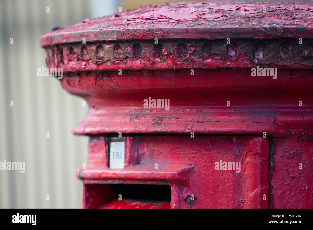 Iconic Red Pillar Post Box London England Decay Dilapidated Peeling Stock Photo