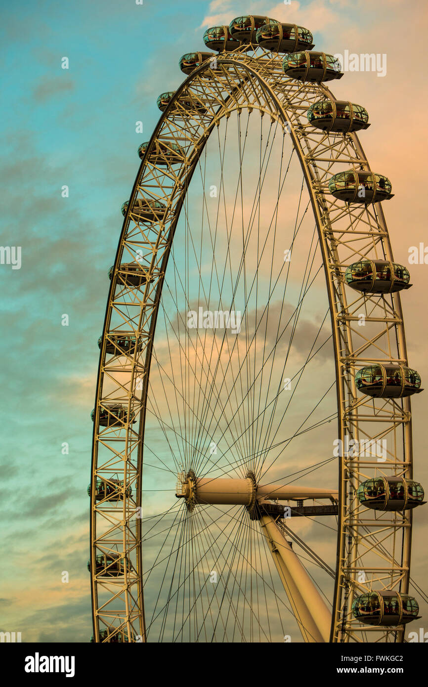 London Eye Tourist Attraction Evening Night - Stock Image
