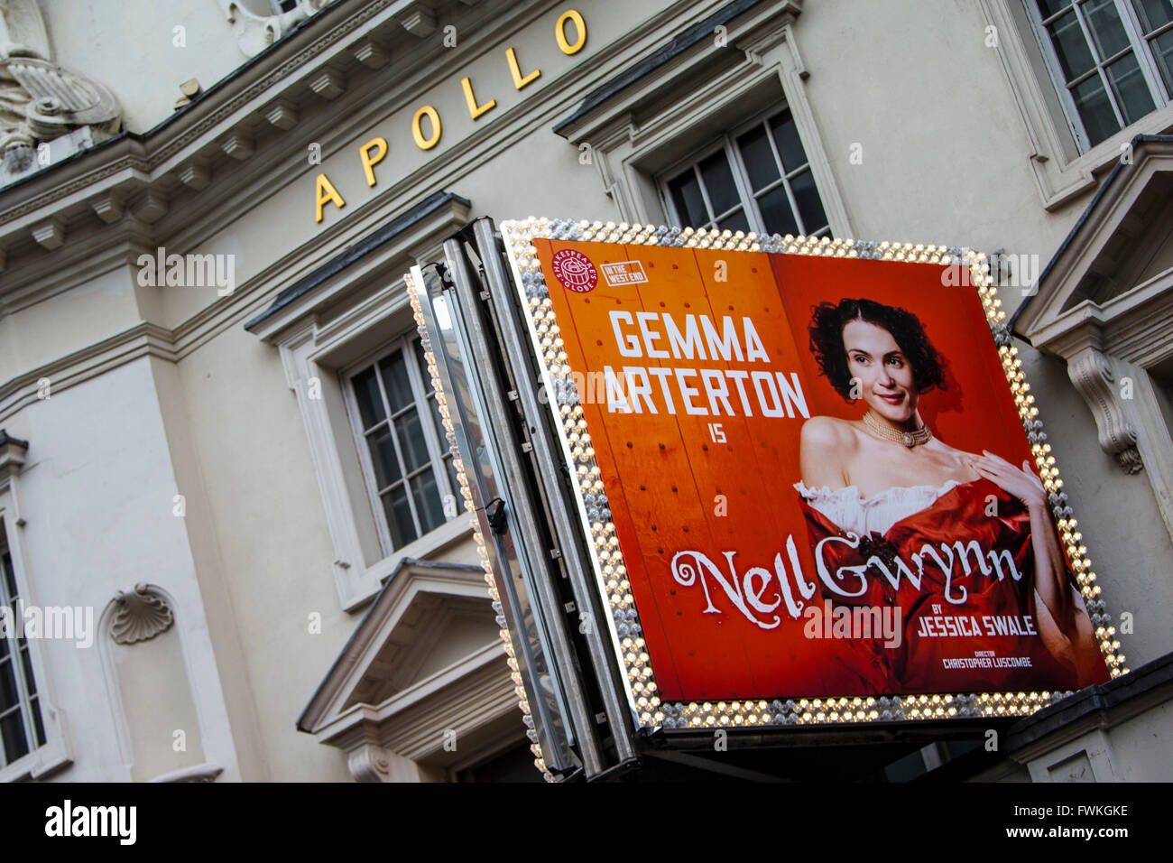 Theatre Signage at the Apollo Theatre on Shaftesbury Avenue in London's West end. - Stock Image