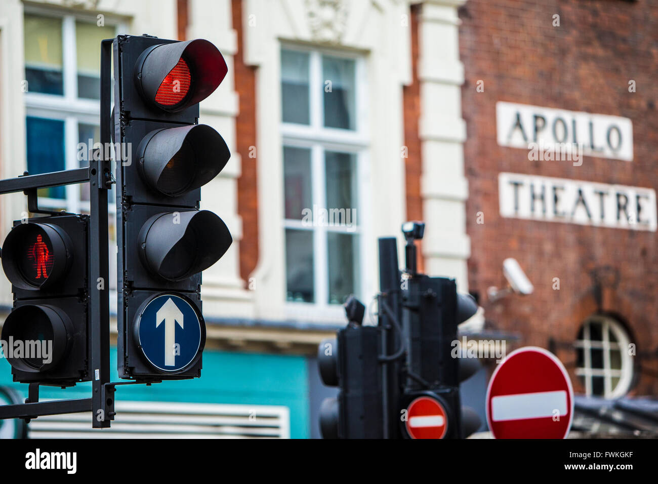 Apollo Theatre Theater London West End Traffic Light Street view - Stock Image