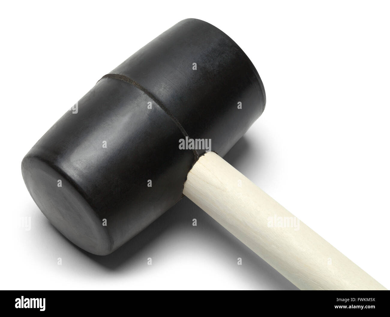 Black Rubber Mallet Isolated on White Background. - Stock Image