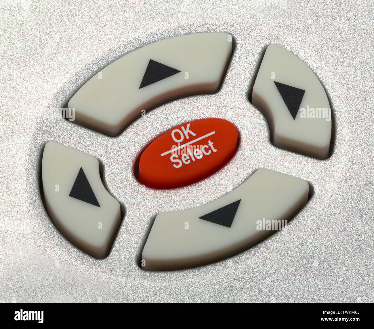 Close Up of Arrow Selection Buttons on Remote Control. - Stock Image