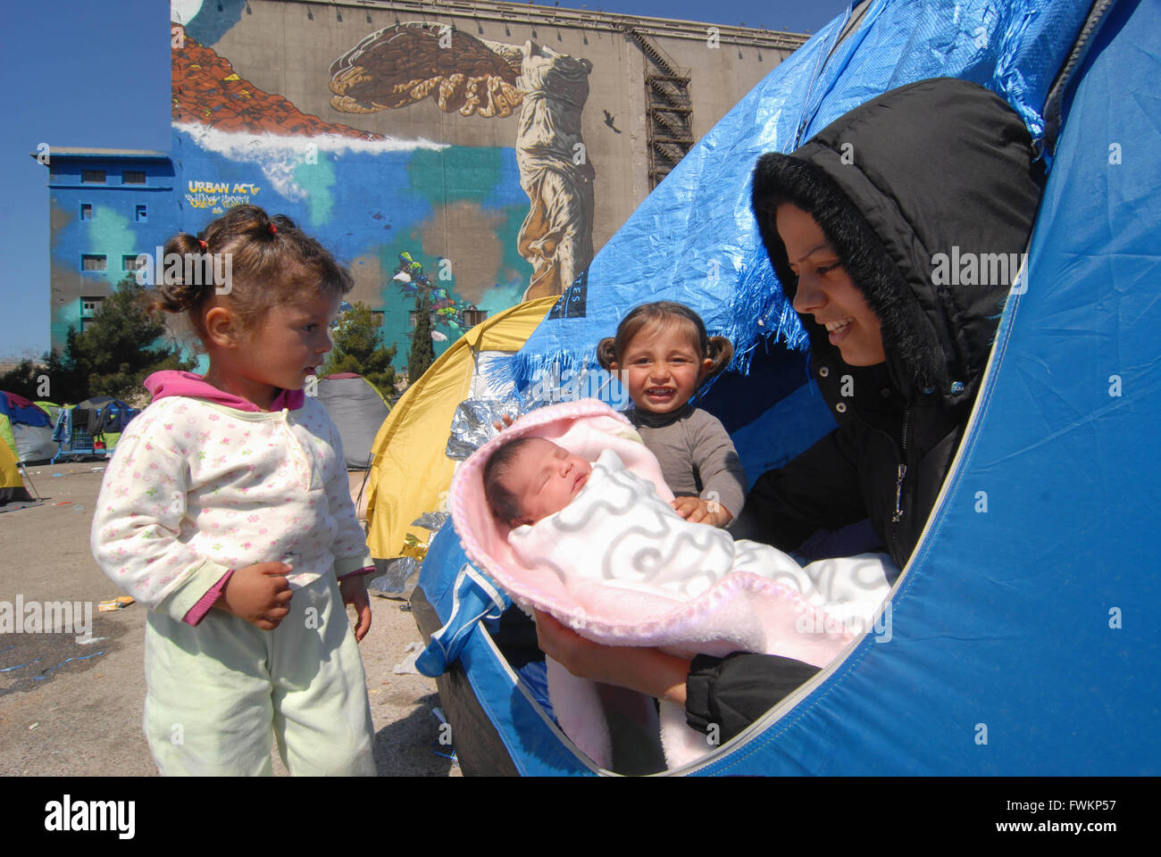 Refugee camp in Pireus Port. Most of them are women with children coming from Syria. Pireus / Athens 30/03/2016 - Stock Image