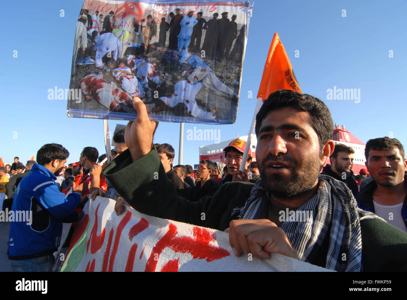 Refugee camp in Pireus Port. Demonstration against EU-Turckey agreement and request to open the borders with Makedonia.. - Stock Image