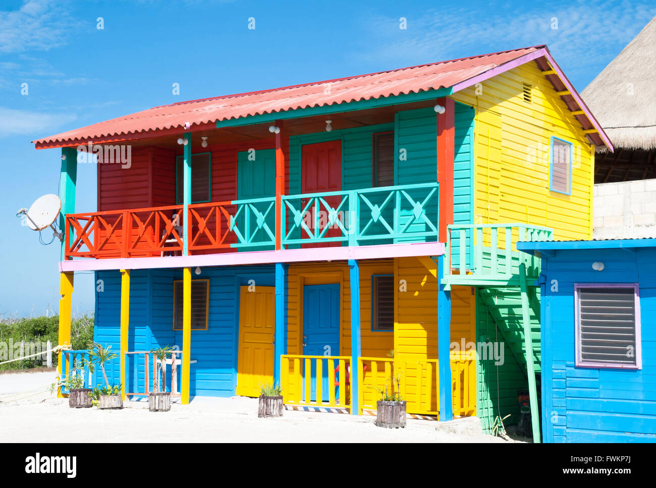 The Colorfully Painted House In Mexican Resort Town Mahahual Stock Photo Alamy