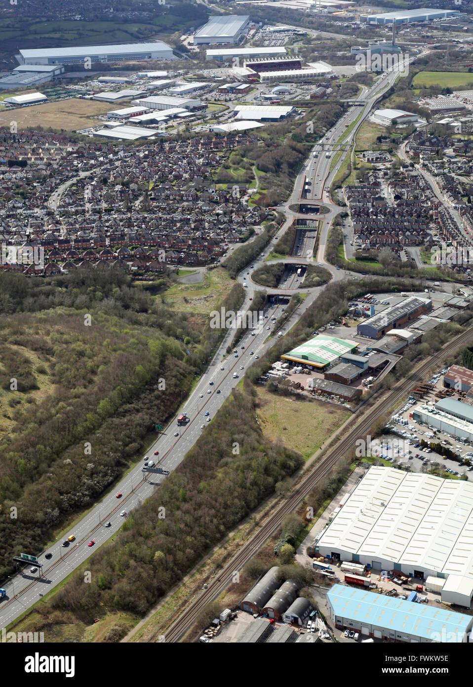 aerial view of the A50 trunk road as it passes through Stoke-on-Trent, Staffordshire, UK - Stock Image
