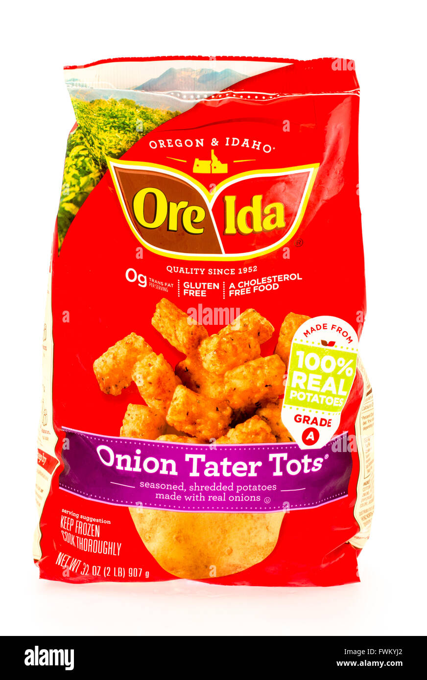 Winneconne, WI - 29 August 2015: Bag of Ore Ida onion tater tots, made from 100% potatoes. - Stock Image