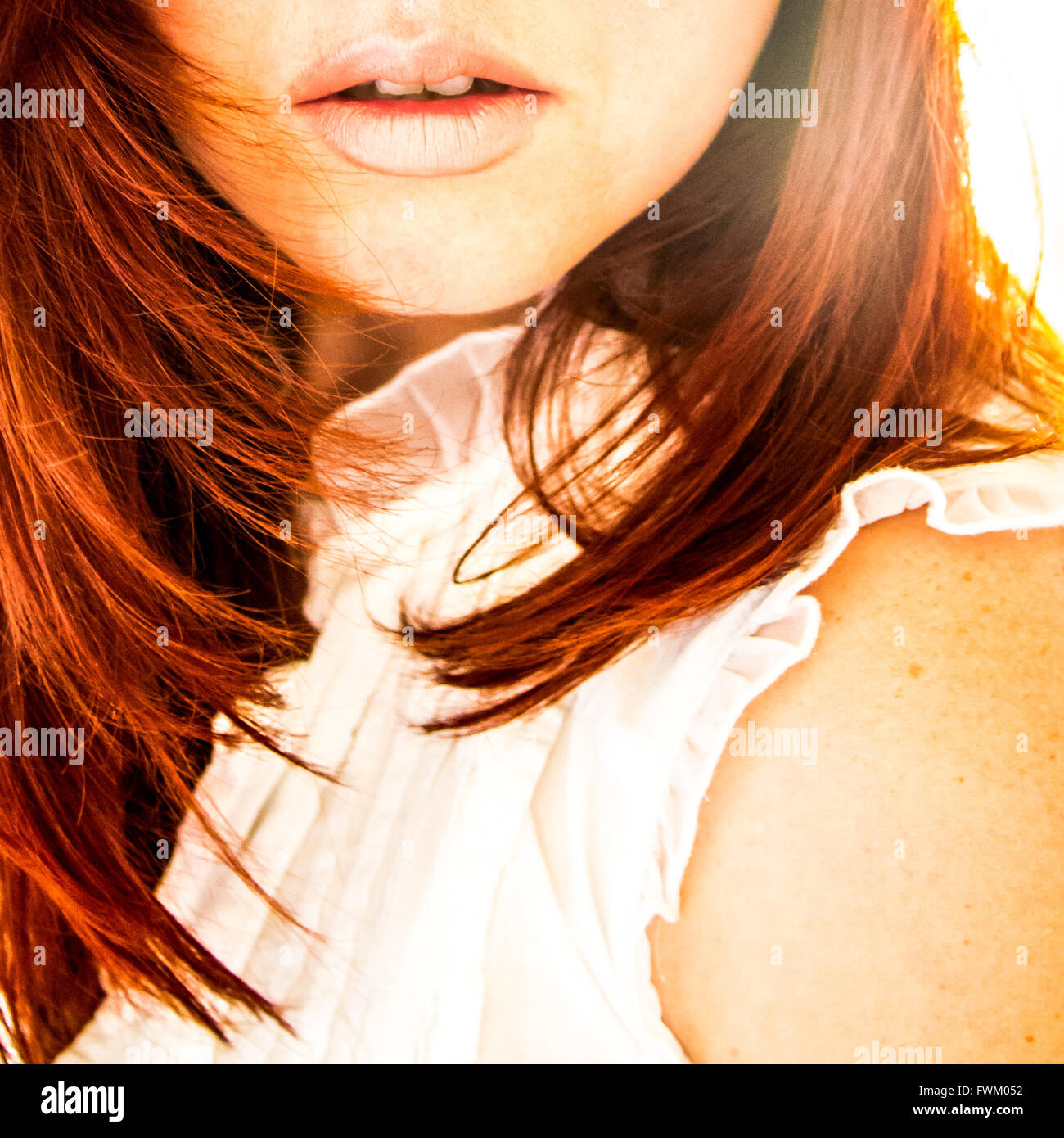 Cropped Image Of Woman With Brown Hair - Stock Image