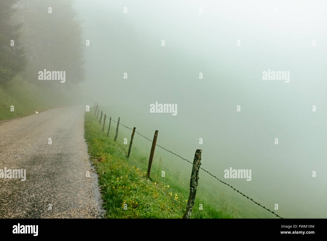 Road Against Sky During Foggy Weather - Stock Image