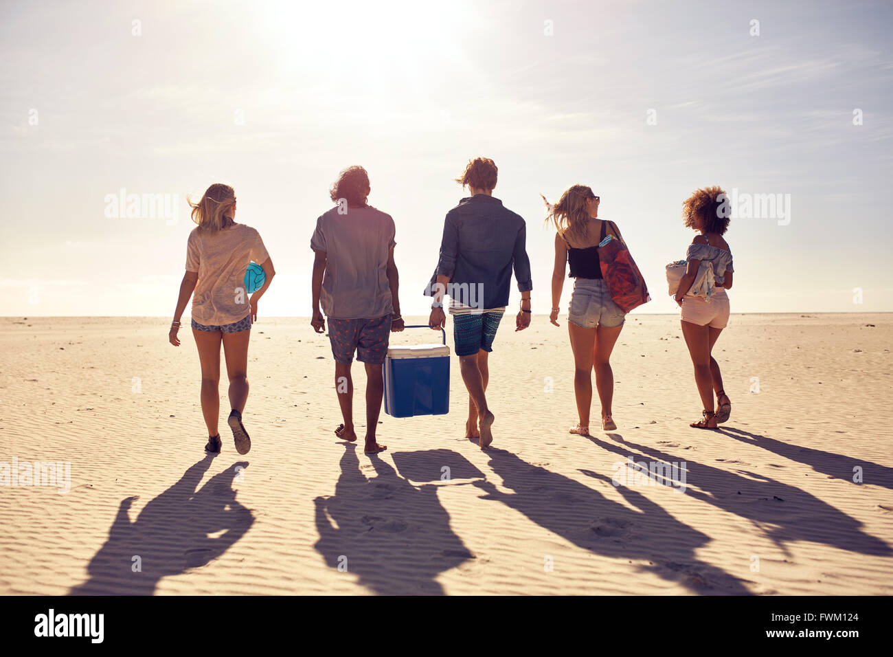 Rear view portrait of group of young people walking on the beach carrying a cooler box. Young men and woman on sea Stock Photo