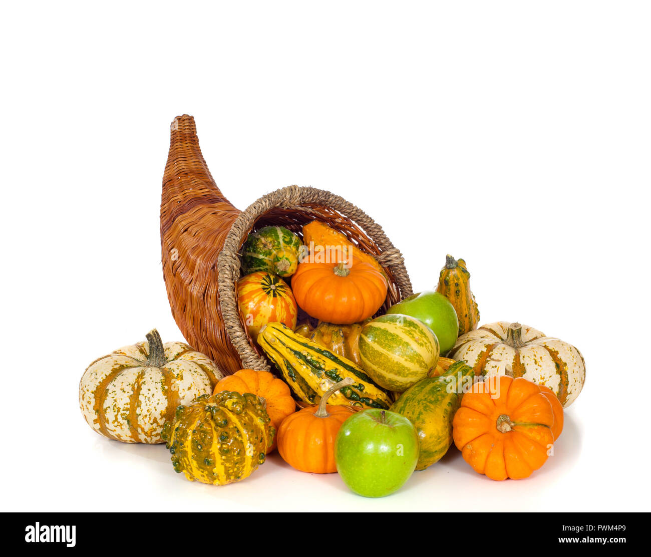 a fall or autumn conucopia on white background harvest horn of