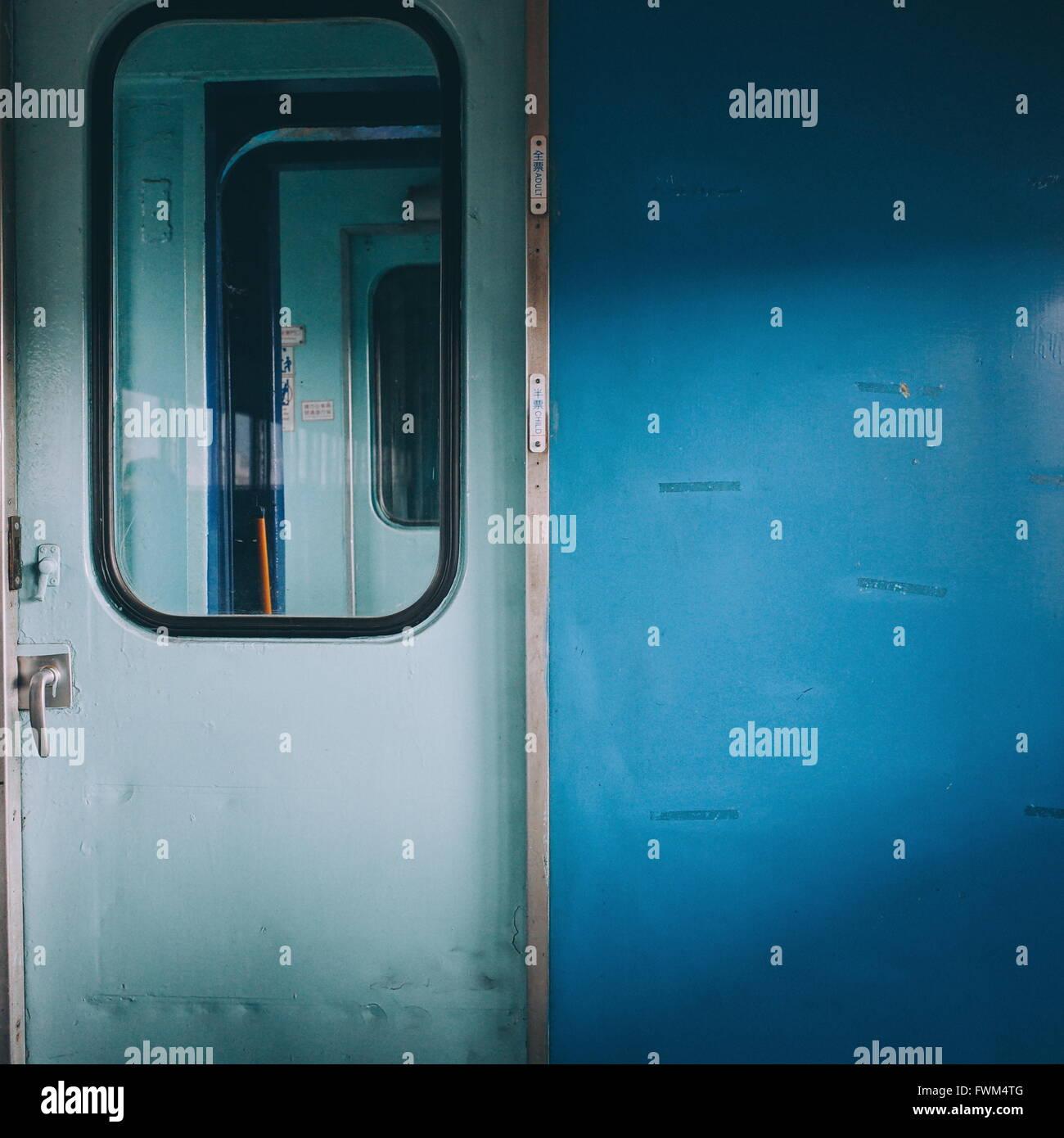 Closed Door Of Train - Stock Image