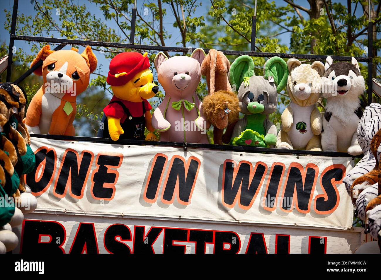 Carnival Game To Win Stuffed Animals During A Country Fair In St