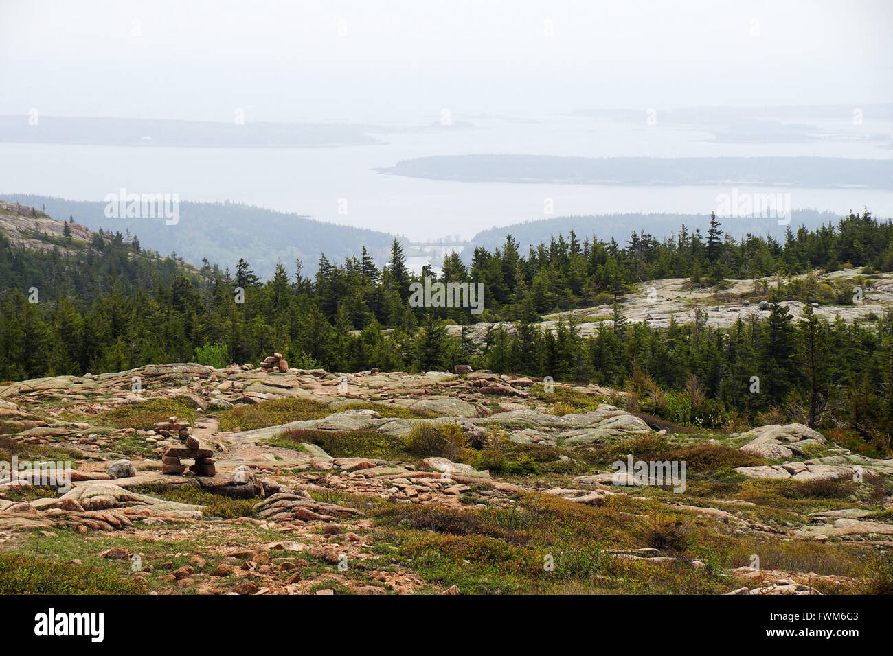 Landscape with boulders and spruces with remote lake view in the haze. - Stock Image