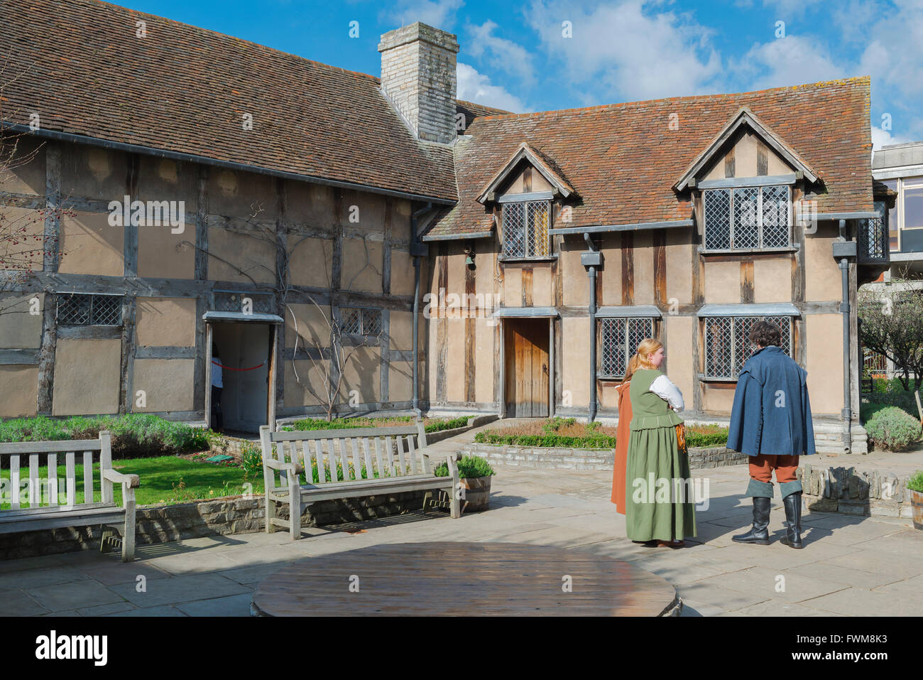 The rear of the medieval half-timbered house in which Shakespeare was born (1564) in Henley Street, Stratford Upon - Stock Image