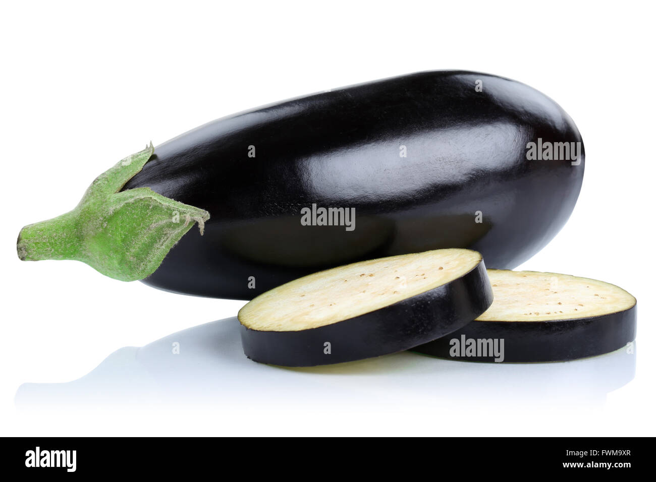 Eggplant aubergine slice slices vegetable isolated on a white background Stock Photo