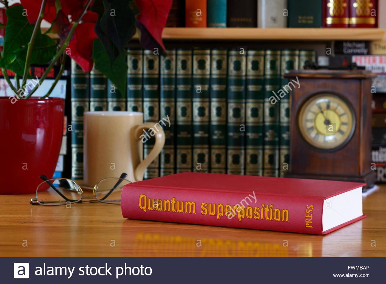 Quantum superposition book title on desk, England - Stock Image