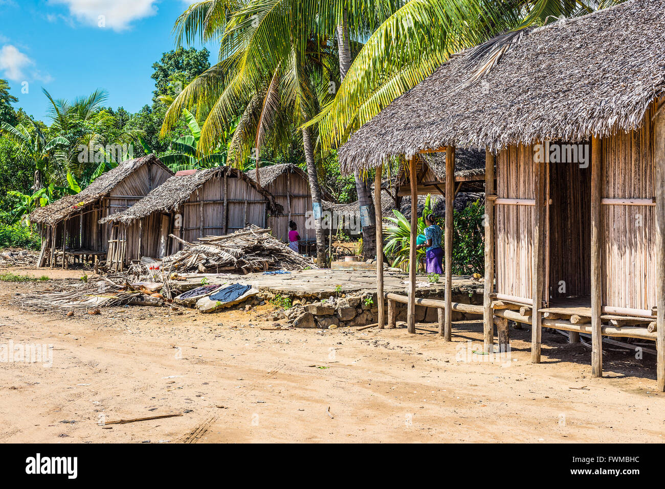 Malagasy typical village on the beach in Nosy Be island, north of Madagascar - Stock Image