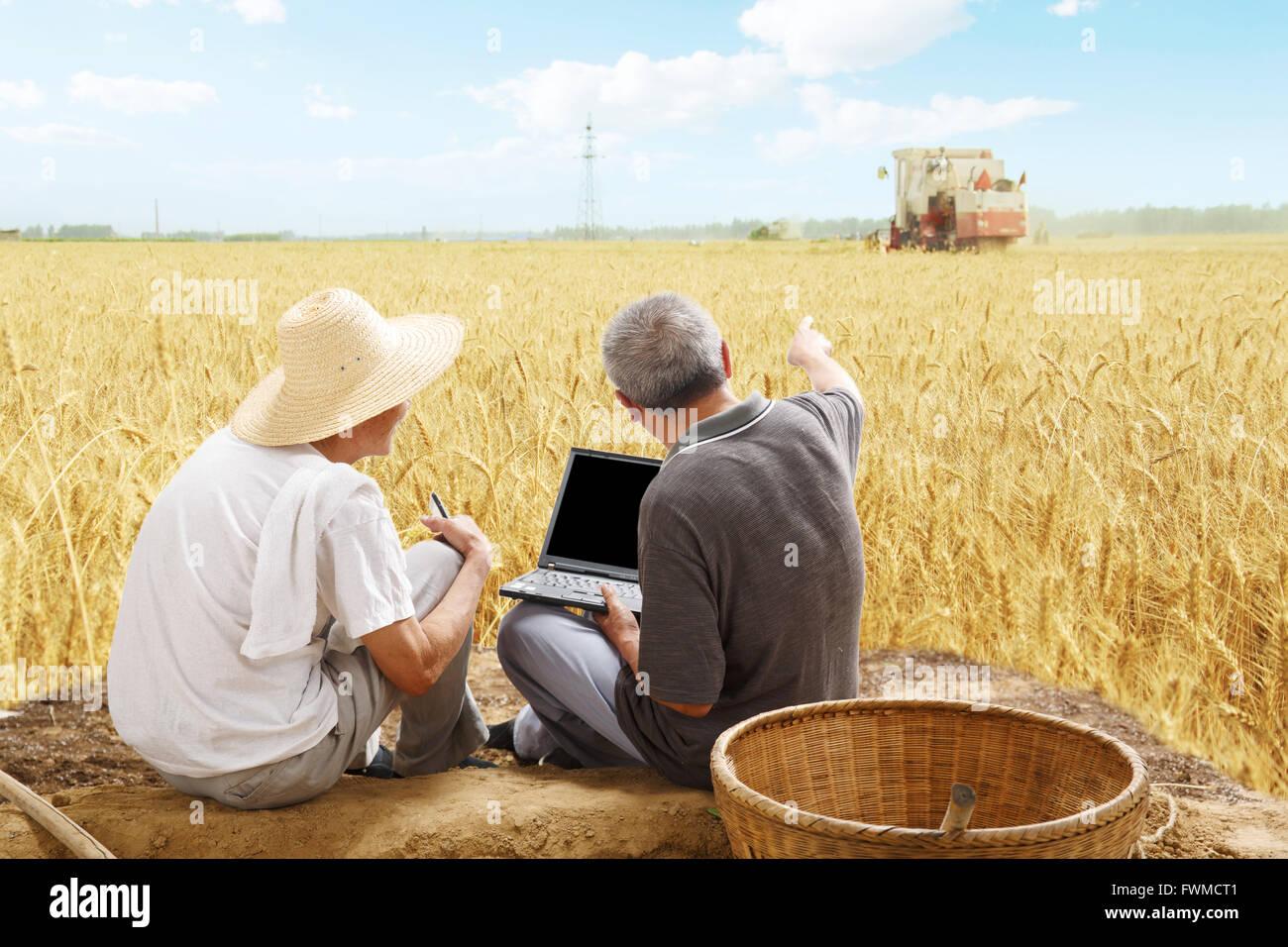 Two farmers sitting in field talking - Stock Image